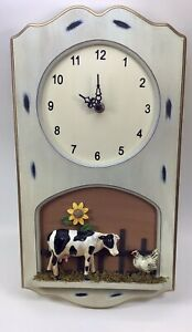 Wooden Farm/ Cow Themed Wall Clock- New In Box