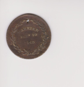 Queen Victoria & Prince Albert 1840 Marriage Bronze Medal..26MM.GH153