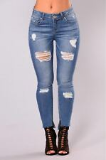 New Ladies Womens Distressed Skinny HighWaist Ripped Jeans Jegging UK Size 6-16