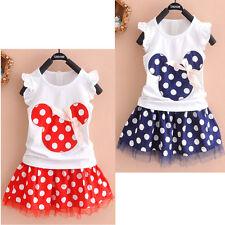 Minnie Mouse Kids Baby Girls Outfits Clothes T-shirt Tops+Skirt Tutu Dress Set