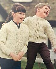 K304b - Knitting Pattern - Two Styles Of Children's Aran Jumpers - 3-ply Bainin