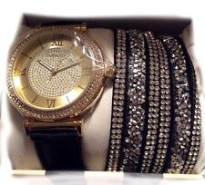 New Embassy Women's watch jewelry set Black Gold & 6 Rhinestone Bracelet Combo