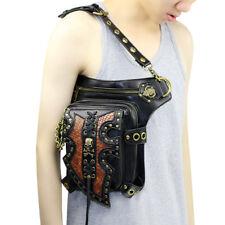 Steampunk Belt Waist Fanny Leg Drop Pack Rivets Unisex PU Leather Shoulder Bags
