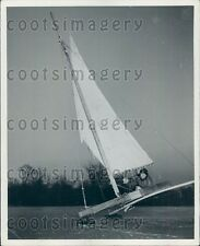 Man Steers Leaning Ice Sail Boat A Ewing Galloway Press Photo