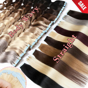 Thick 20pcs Tape In Remy Human Hair Extensions Full Head Skin Weft Straight/Wavy