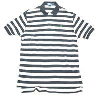 Polo Ralph Lauren Polo Shirt Mens XL Black White Striped Short Sleeve Green Pony
