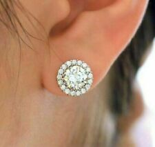 14K White Gold Over 4Ct Round Cut Diamond Solid Halo Stud Earrings Women's
