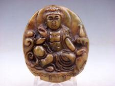 Vecchio Nephrite Giada Intagliato Mano * Kwan-Yin Buddha Bottiglia Acqua *