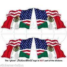 USA United States America-MEXICO American & Mexican Flying Flag 50mm Stickers x4