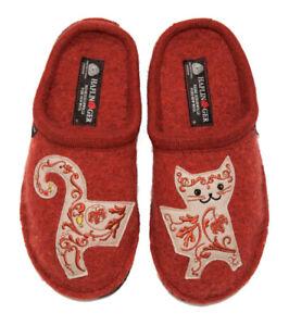 HAFLINGER Lissy terracotta red Cat Slipper wool felt Germany New