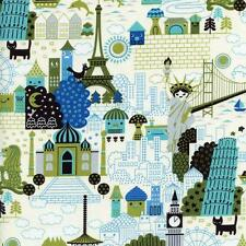 International Travel Cartoon Blue Quilt Sew Fabric TRANS-PACIFIC
