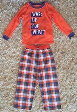 Boys OshKosh Pajamas Set Orange Top Glows In Dark Plaid Bottoms Size 6 NWOT