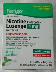 Perrigo Mini Nicotine Lozenge 4 Mg 81 Count Mint Flavored Compare to Nicorette