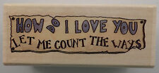 Boyds Bear Collection How Do I Love You Let Me Count The Way Wooden Rubber Stamp