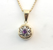 "DIAMOND AMETHYST FLOWER PENDANT NECKLACE 14k YELLOW GOLD 20"" BOX CHAIN 10k"