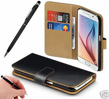 Genuine Real Leather Wallet Flip Stand Case Cover for Samsung Galaxy J5 (2016) Black