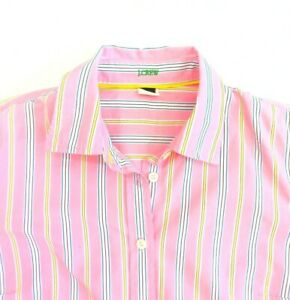 J. Crew Womens Shirt Pink Striped Size S UK10 Slim Fit Long Sleeve Fitted Cotton