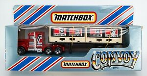 1983 Matchbox Convoy CY3 Peterbilt Double Container Truck RED / UNIROYAL