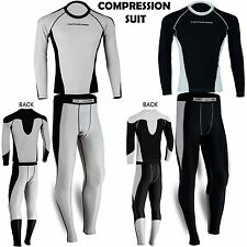 Mens Compression Base Layer Suit Tights Shirt Under Pant Thermal Activewear 2Pcs