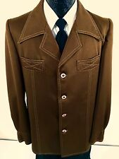 Vtg 70's Men's MOD Sport Coat BUTTERFLY COLLAR Disco Jacket Leisure Blazer 40 R