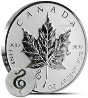2013 Snake Privy - 1 oz. Canadian Silver Maple Leaf Coin - One Troy oz .9999Pure