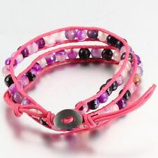 Pink Leather Bead Wrap Friendship Bracelet, With Multi Coloured Onyx Beads.