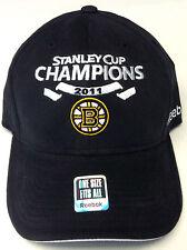 NHL Boston Bruins Reebok Stanley Cup 2011 Champions Curve Brim Cap Hat OSFA NEW