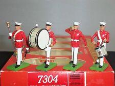 Britains 7304 American US Marine A TAMBURO + Bugle Corps METAL Toy Soldier Figure Set