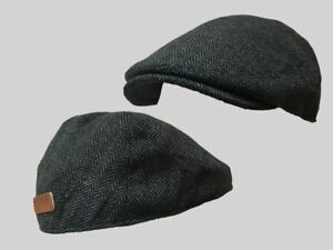 GRAY HERRINGBONE  FLAT CAP,CLOTH CAP,GOLF CAP WINDSOR FLAT CAP FARMER,CABBIE HAT