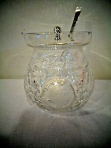 WEB STERLING SILVER GLASS JAM JELLY JAR WITH LID & SPOON