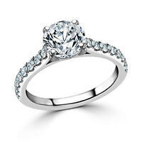 Solid 14K White Gold Round Cut 2.48 Ct VVS1 Diamond Engagement Ring Size N M H O