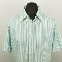 HUGO BOSS Orange Mens Shirt 2XL Short Sleeve Green Regular Fit Striped Cotton