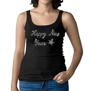 Rhinestone HAPPY NEW YEAR - Womens Ladies Vest - Crystal Diamante Tank Top