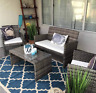 4 Piece Patio Furniture Set Rattan Cushioned Outdoor Sectional Couch Porch NEW