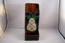 Pineapple Motif Stained Glass Rustic Match Holder Wall Mount w Hanger