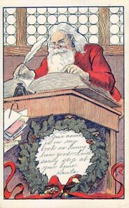 SANTA WORKING WITH HIS BOOK CONTAINING NAMES OF WELL-BEHAVED CHILDREN used 1907