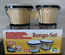 Bongo-Trommel -Set - Echtholz und Naturhaut - Größe: 15,2 und 17,7 cm NEU in OVP