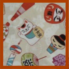 """Japanese Asian """"Lucky Cat"""" Fabric Tokyo Kitty Cats Travel Souvenirs 100% Cotton"""