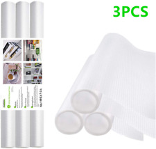 3 Rolls Fridge Liner Shelf Liner Drawer Cabinet Non Adhesive Rug Pad and Desks