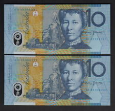 R-316. (1993) 10 Dollars.. Fraser/Evans..  Blue Dobell..  UNC - CONSECUTIVE Pair