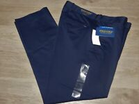 Polo Golf Ralph Lauren Stretch Chino Pants Tailored Fit Flat Front $98 Navy Blue