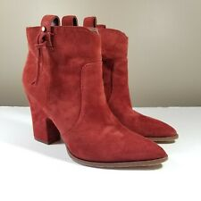 """Red Suede Ankle Boots Sam Edelman  Size 8 """"Niomie"""" Paprika"""