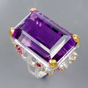 26x16 mm. IF 40 ct AAA Amethyst Ring Silver 925 Sterling  Size 8 /R177517