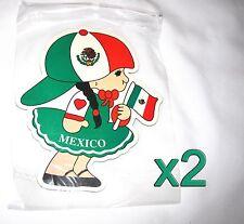 2 pack Mexican Flag Girl Magnets Fridge/Car/Locker UV protected Imán Bandera