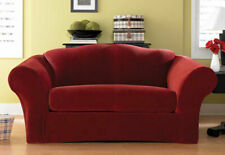Sure Fit Red 2pc Sofa Slipcover Pique Box Seat Cushion