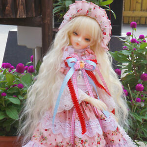 "BJD Doll Hair Wig 8-9""1/3 SD DZ DOD Rhapsody fluffy long light blonde lolita wig"