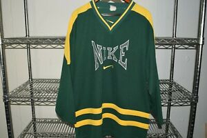 vtg 90s Nike Embroidered Green Ice Hockey Jersey Usa Made Check Measurements