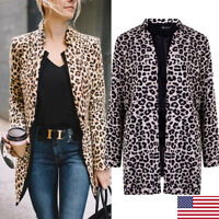 Women's Leopard Jacket Sweater Tops Warm Casual Winter Cardigan Long Sleeve Coat