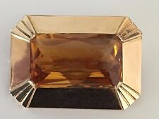 16k rectangle topaz brooch pin pendant rose yellow gold 8.5 grams Free shipping