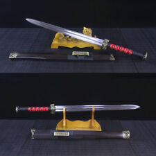 Handmade Chinese Sword Double Edge Han Jian Damascus Folded Steel Blade Rosewood